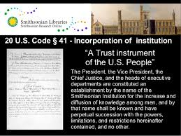 「the Smithsonian Institution Act document」の画像検索結果