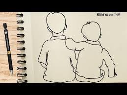 to draw two boy best friend
