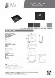piccolo 457mm premium granite undermounttopmount single kitchen sink