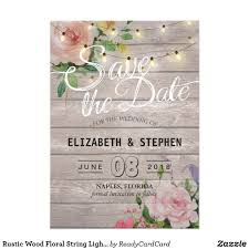 Save The Date Cards Templates Rustic Wood Floral String Lights Wedding Save Date Save The Date