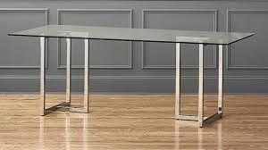 dining table material. cb2 silverado chrome 80\u2033 rectangular dining table material