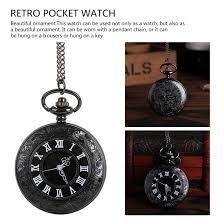 1Pcs <b>Vintage</b> Black <b>Unisex Fashion Roman</b> Number Quartz Pocket ...