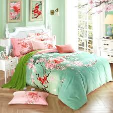 asian bedding pink and green bedding full mint green and pink peach blossom print oriental style asian bedding