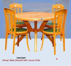 round plastic dining table with luxury arm less chair