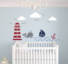 nautical theme wall decal decor nursery stickers whale and sailboat walls childrens art reusable vinyl
