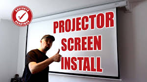 how to install a projector screen 90 motorised with brackets to avoid tv 48