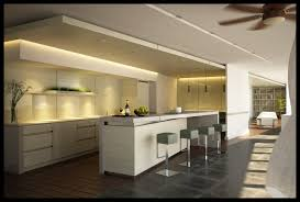 decoration: White Interior Kitchen Design With Awesome Mini Bar Plus  Charming Led Lighting Nuance Also