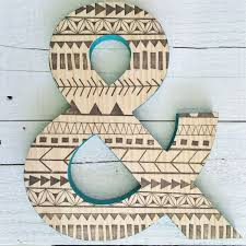 Baby Monogram Wall Decor Ampersand Wood Letter And Sign Tribal Print Wood Initial