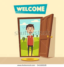 open door welcome. Plain Welcome Open Door Welcome Cartoon Vector Illustration Summer Landscape Vintage  Poster Guest Intended Door Welcome