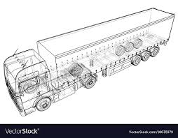 abstract drawing cargo truck trailer abstract drawing wire frame vector image