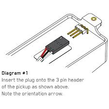"emg het set pickups slothic important when attaching the plug onto the 3 pin header the positioning must be as displayed in ""diagram 1 "" the little grounding arrow must be visible as"