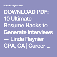 Linda Raynier Resume Sample Best of DOWNLOAD PDF 24 Ultimate Resume Hacks To Generate Interviews