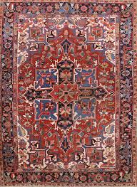 details about vegetable dye pre 1900 geometric antique heriz serapi persian red blue area rug