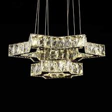 stainless steel built modern led crystal chandelier with remote control dk ld06128 2