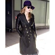 designer jennifer lawrence black leather trench coat