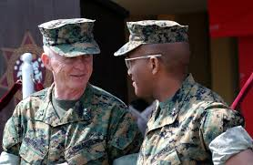 US Marine Corps (USMC) Major General (MGEN) Jack Davis (left),  Vice-Commander, USMC Forces Atlantic, converses