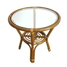 Small Round Rattan Table Round Small Coffee Table Diana 21 Color Light Brown With Glass