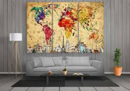 world map with monuments colourful abstract 3 panel canvases ready to hang wall art canvas prints by panelwallart free shipping to us canada  on wall art canvas prints canada with world map with monuments colourful abstract pinterest dining