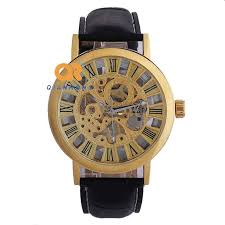 goer brand men s skeleton watches luxury casual gold color watch goer brand men s skeleton watches luxury casual gold color watch transparent mechanical watch new genuine leather clock male