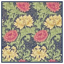William Morris Textile Designs Chrysanthemum Detail Blue Pink William Morris Design Counted