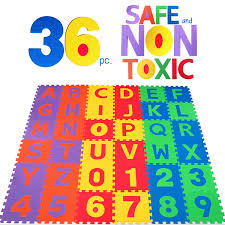 com non toxic 36 piece abc foam mat alphabet number puzzle play flooring mat for children toddlers toys