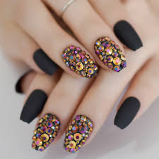 Coffin Black Nail Designs Us 3 92 20 Off 24 Coffin Short Matte Black Nails Rhinestones Decoration Nail Art Design Colorful Crystal Diamond Nails In False Nails From Beauty