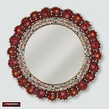 decorative cuzcaja red round mirror for