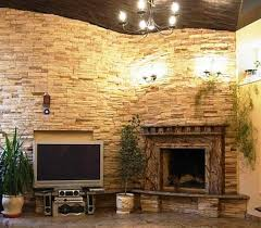 stacked stone fireplace installation