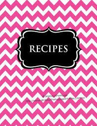 Recipe Labels Templates Pink Chevron Black Recipe Binder Editable 54 Sheets