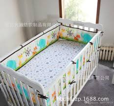 cotton baby bedding set embroidery elephant tiger monkey bird baby boy kit crib cot bedding sets