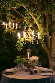 electric chandeliers hanging outside