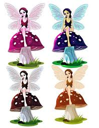 Cut Out Character Template Blue Fairy Image Fairy Image Fairy Cutout 4 Pack Mushroom Cutout Large Clipart Transparent Background Transfer Template Craft Supply