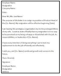 Resignation Letter Samples With Reason Resignation Letter Format For Personal Reason Resignation