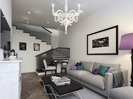 white living room furniture small. Small White Apartment Living Room Design With Floating Tv Stand Furniture Also Gray Sofa Plus Coffee Table