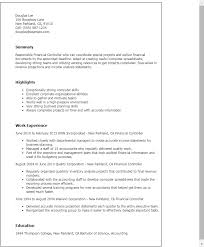 Gallery Of Professional Cv In Finance Controller Resume Example