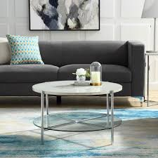 walker edison furniture company 32 in white marble top glass shelf chrome legs round coffee table hdf32srdctwmcr the home depot