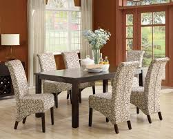 contemporary parson cahirs with fabric beige and brown curved line motif for yours dining room idea