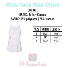 Bella Canvas 3001c Size Chart Bella Canvas Youth Tank Size Chart Print On Demand Bella