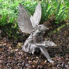bronze garden statues. elegant bronze effect sitting flower fairy - garden ornament / statues