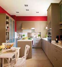 Modern kitchen design with accent walls in red color