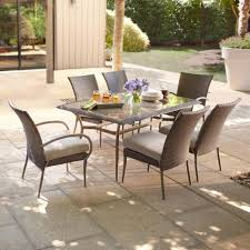 hampton bay patio dining set painted glass tabletop woven wicker gray 7 piece