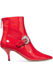 womens dorateymur boots saloon buckled patent leather ankle boots red red