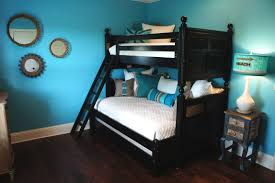 alluring bedroom schemes of small ideas with black wood painted bun bed also white covered covers awesome black painted