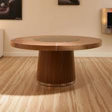 large round walnut dining table glass lazy susan led lighting 1 4m dia