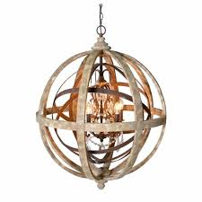 wooden orb chandelier metal detail and crystal by cowshed