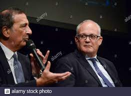 Roma, Italy. 12th Oct, 2021. Beppe Sala (L) Roberto Gualtieri (R) during  The mayor of Milan, Beppe Sala, meets the candidate for president of the  second municipality of Rome and the candidate