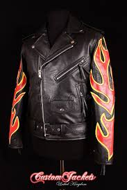 men s brando black with red yellow flames real cowhide leather motorcycle motorbike biker jacket