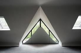 Shaped Curtains On A Triangular Window Made By Geru0027s Curtains Blinds Triangular Windows