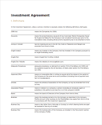 Investment Agreement Template Doc Parsyssante
