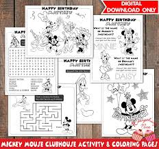 Mickey Mouse Clubhouse Birthday Coloring And Activity Pages Etsy
